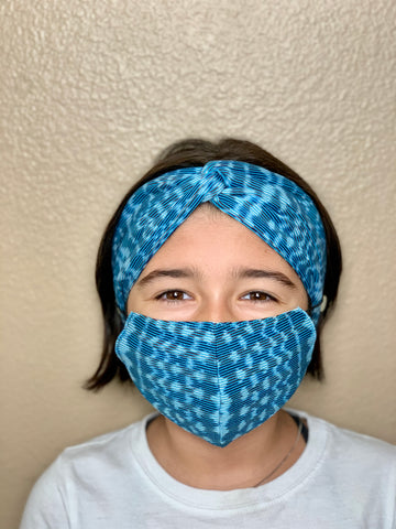 MASK & TURBAN HEADBAND SET FOR KIDS AGES 10-12YRS OLD