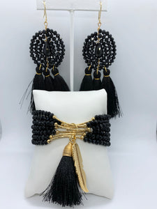 EVA MULTI-LAYERED CHARM BRACELET & TASSEL EARRINGS SET