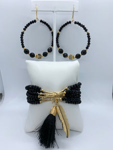 EVA MULTI-LAYERED CHARM BRACELET & HOOP EARRINGS SET
