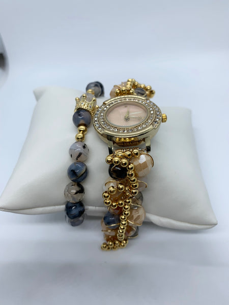 SOFIA BEADED WATCH & MATCHING BRACELET SET