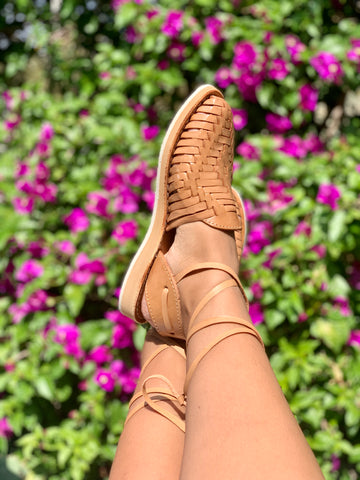 SOL LACE-UP HUARACHE- TAN