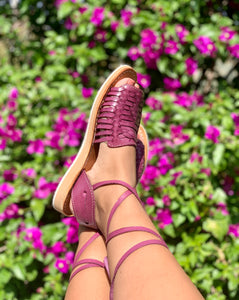 RAQUEL PEEP-TOE LACE-UP IN PLUM (PRE-ORDER)