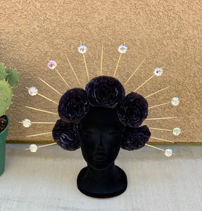 DIA DE LOS MUERTOS HALO CROWN HEADBAND- BLACK FLOWERS
