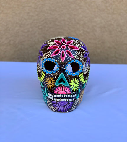 DIA DE LOS MUERTOS CERAMIC SUGAR SKULL- DARK CHOCOLATE BROWN