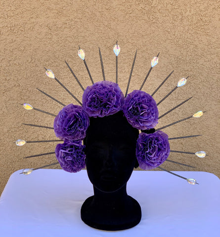 DIA DE LOS MUERTOS HALO CROWN HEADBAND- PURPLE FLOWERS