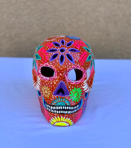 DIA DE LOS MUERTOS CERAMIC SUGAR SKULL- RED ORANGE
