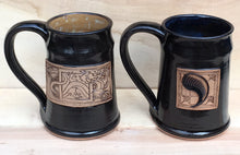 Load image into Gallery viewer, Wheel Of Time mugs, Rand/Dragon, Mat/Dice, Perrin/Wolf, Black Fang/Black Tower