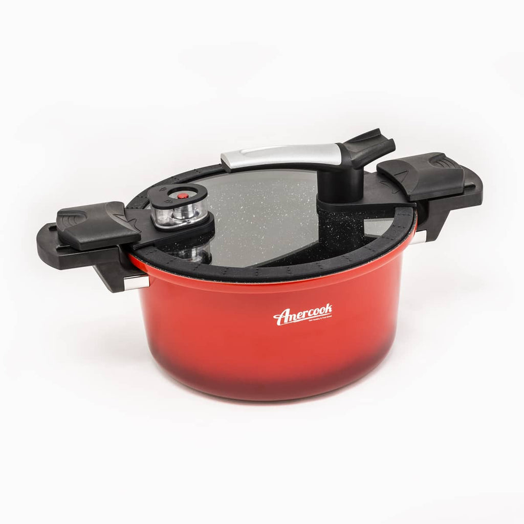 Easycook red low pressure cooker. Traditional express + pot. Allows you to add food during cooking