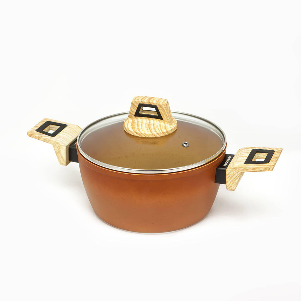 Terracotta saucepan with stone powder finish. Suitable for all types of cookers, including induction