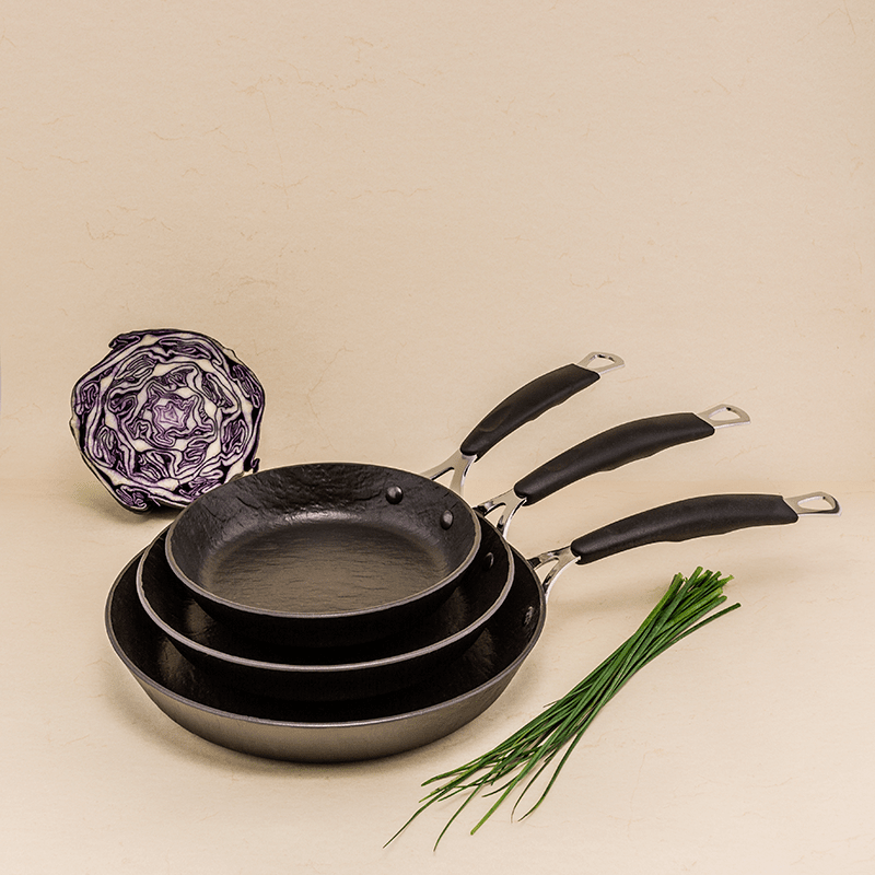 Set of 3 Rockstone slate effect frying pans