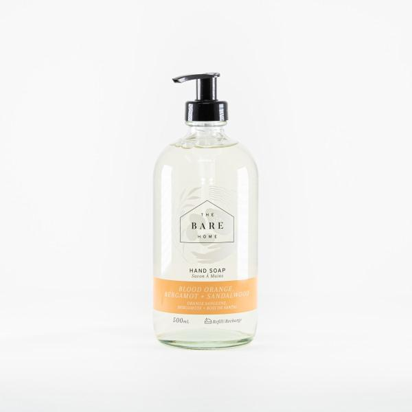 Hand Soap 500 mL Bottle - Blood Orange, Bergamot, and Sandalwood - The Bare Home - door2doorfresh.com