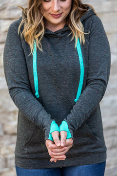 Turquoise Accent Confetti Dot Pullover Hoodie