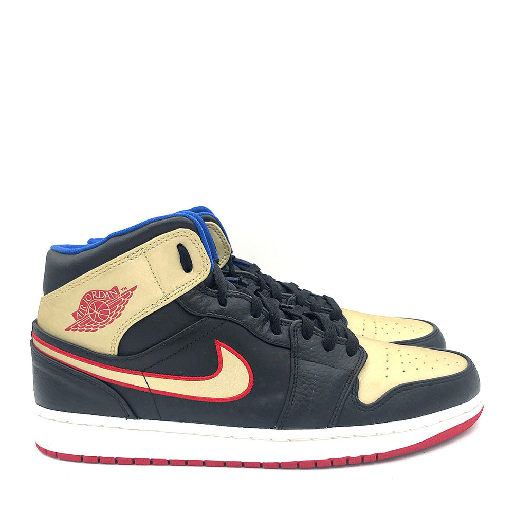 Jordan 1 Mid 'Black Gold Red'