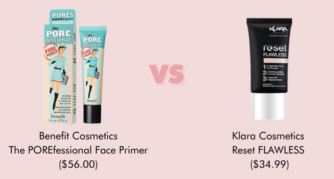 Use Klara Cosmetics Reset FLAWLESS primer in place of Benefit Cosmetics The POREfessional Face Primer