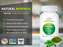 Load image into Gallery viewer, Pure Premium Moringa Leaf Powder Capsules - 90 Caps. Bottle -