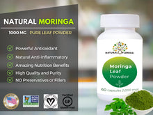 Load image into Gallery viewer, Pure Premium Moringa Leaf Powder Capsules - 60 Vegan Caps - Plastic Bottle