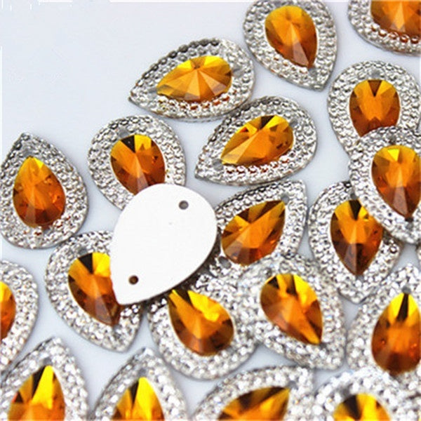 13*18mm 40PCS Drop Flat Back Resin Buttons Scrapbooking DIY Appliques