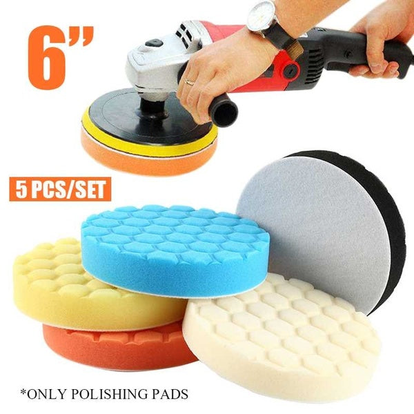 5Pcs 6 Inch 150mm Buffing Hex Logic Type Polishing Pads Set Kit For Car Polishe