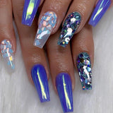 1 Box Heart Nail Glitter Symphony Blue Transparent Mermaid Sequins DIY Nail Art Decoration