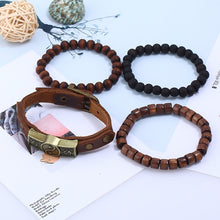 Load image into Gallery viewer, European and American foreign trade jewelry simple Vintage alloy Bagua cowhide bracelet bracelet Leather Bracelet multi-layer suit Bracelet