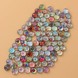 100 Pieces 8 mm Mixed Color Flower Pattern Glass Half Round Crafts Glass Mosaic for Jewelry Making