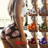 Hot Summer Women Fashion Underwear Skull Printed Brief Elastic Mid Waist Skinny Bouncy Cutton Soft Shorts Casual Beach Swimming Wear Sexy Cute Plus Size Candy Color Shorts