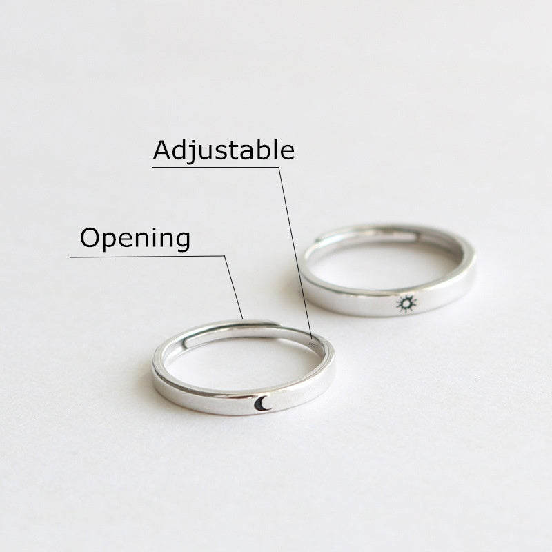 Fashion Accessories Anniversary Gifts Opening Adjustable Couple Rings Matching Rings Unique Sun And Moon Wedding Jewelry 925 Sterling Silver Couple Rings For Lovers