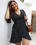 Plus Size Women's Deep V Neck Print Short Sleeve Dresses Summer Floral Mini Dress