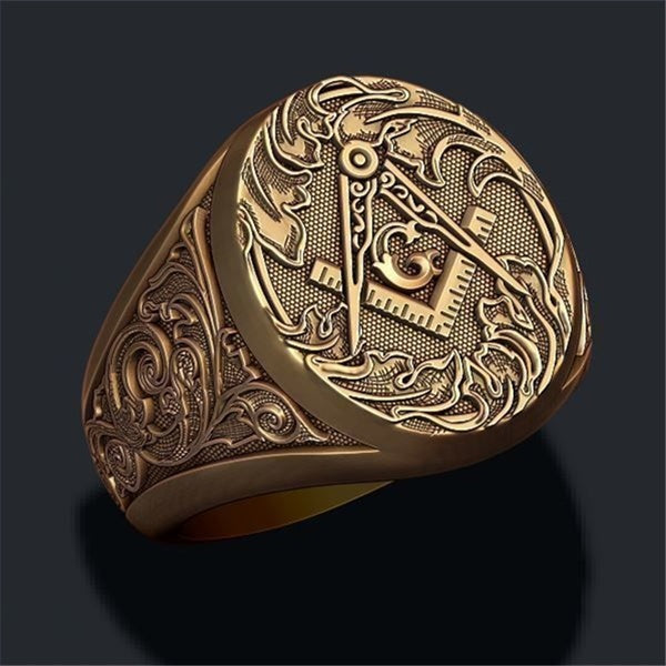 Golden 316L Stainless Steel Masonic Ring for Men Hip-hop Punk Masonic Biker Ring Jewelry