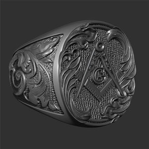 Gothic 316L Stainless Steel Masonic Pattern Ring for Men Hip-hop Punk Masonic Badge Biker Ring Jewelry