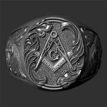Load image into Gallery viewer, Gothic 316L Stainless Steel Masonic Pattern Ring for Men Hip-hop Punk Masonic Badge Biker Ring Jewelry