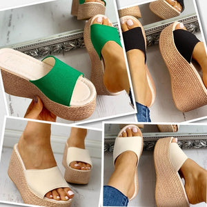Fashion Women Platform Summer Wedges Sandals Thick Shoe Sole Slippers