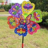 Butterfly Insect Flower Windmill Colourful Wind Spinner Garden Yard Decoration Kids Toy Color Random