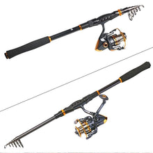 Load image into Gallery viewer, Telescopic Fishing Rod Reel Combos 1.8M-3.6M Travel Fishing Rods With 13+1BB Spinning Fishing Reel
