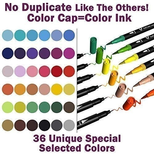 60 30 12 Colors Dual Tip Brush Marker Pens, Tanmit 0.4 Fine Tip Markers & Brush Highlighter Pen for Bullet Journal Adults Coloring Book Note Taking Writing Planning Art Project
