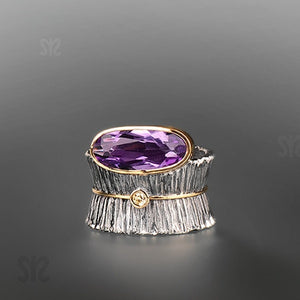925 Sterling Silver Rings Amethyst Rings Wedding Jewelry for Women