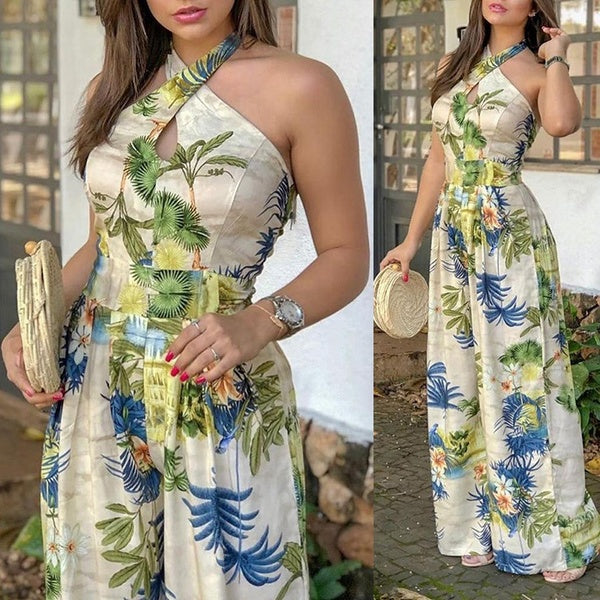 Women Fashion Cross Halter Floral Print Jumpsuit