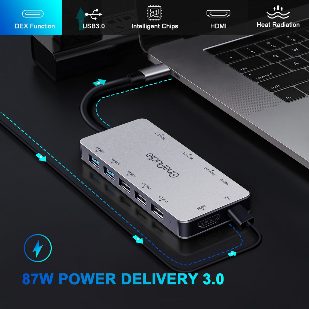 OneAudio 7 in 1/11 in 1 USB HUB C HUB to Multi USB 2.0 3.0 4K HDMI Adapter Dock For MacBook Pro Accessories USB-C Type C Splitter