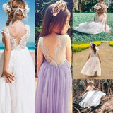 Summer Flower Girls Long Lace Backless Tulle Dress for Wedding Bridesmaid Holiday Beach Party Event