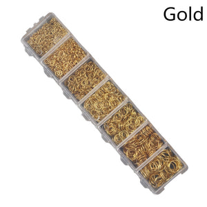 Exweb 1450 pcs/lot Gold / Silver Open Jump Rings Link Loop For DIY Jewelry Making Findings Connector Creative