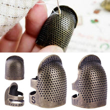 Load image into Gallery viewer, 2pcs Practical Retro Sewing Thimble, Finger Protector Metal Shield Protector Fingertip Thimble Pin Needles Partner Sewing Tools