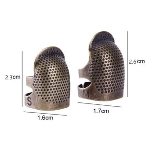 2pcs Practical Retro Sewing Thimble, Finger Protector Metal Shield Protector Fingertip Thimble Pin Needles Partner Sewing Tools