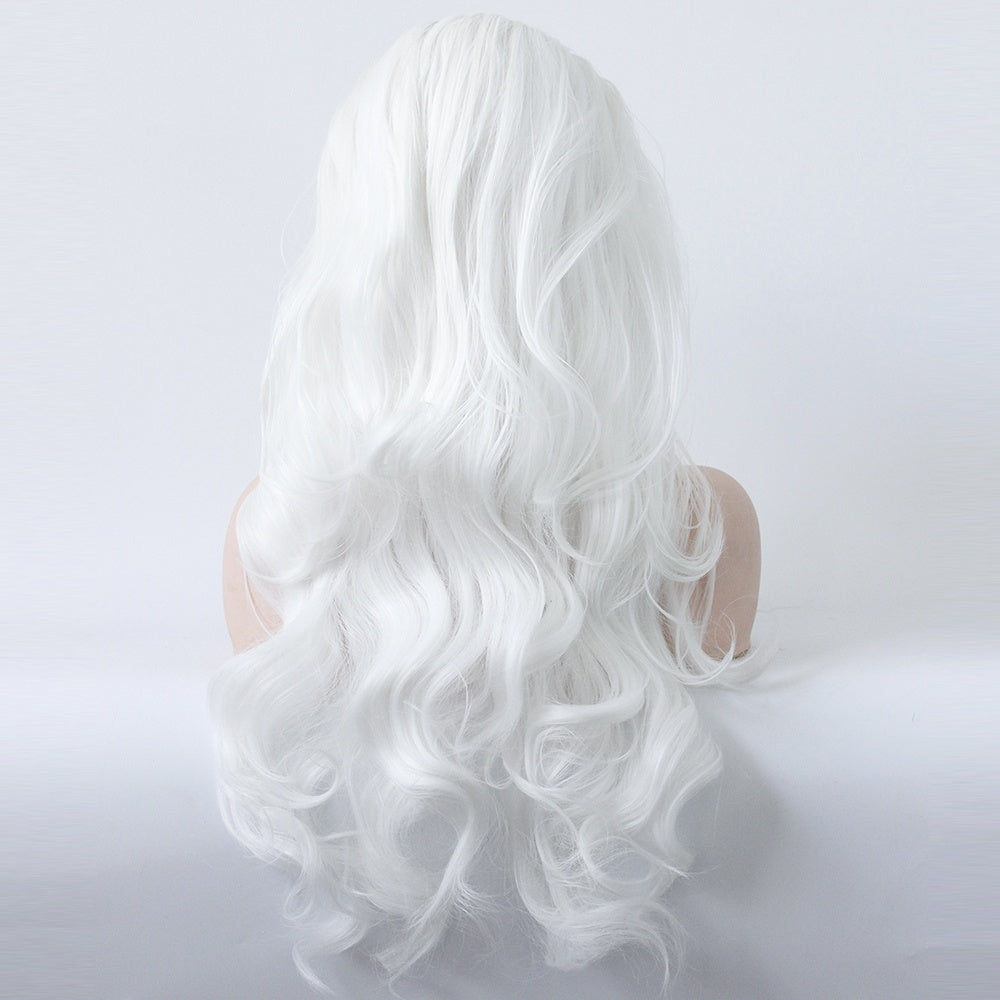 Women Lace Front Wig 13'X3' Lace Frontal Middle Part Wig Hand Tied Snow White Hair Wig Synthetic Lace Wig Natural Long Wavy Wig