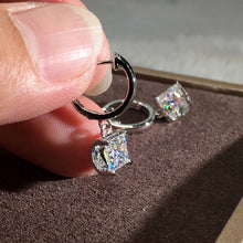 Load image into Gallery viewer, Fashion 18K Rose Gold 1ct Princess Cut Moissanite White Diamond Dangle Earrings Jewelry Gifts (Rose Gold,Silver)