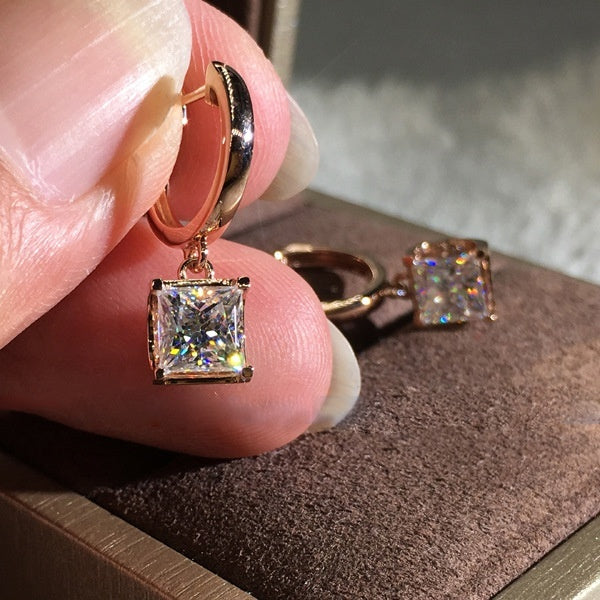 Fashion 18K Rose Gold 1ct Princess Cut Moissanite White Diamond Dangle Earrings Jewelry Gifts (Rose Gold,Silver)