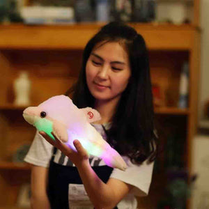 32cm Luminous Plush Stuffed Flashing Colorful Dolphin Doll Home Plush Children