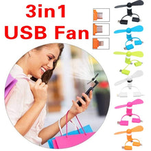 Load image into Gallery viewer, New Portable Cell Phone Mini Electric Fan Cooling Cooler 3in1 USB Fan Mobile Fan Mini Fan for Phone 6 Colors