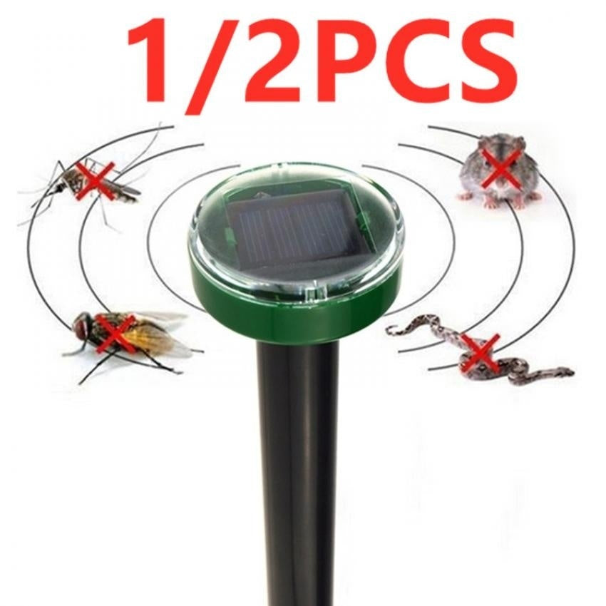 Unique 1/2PCS Eco-Friendly Solar Power Ultrasonic Gopher Mole Snake Mouse Pest Reject Repeller