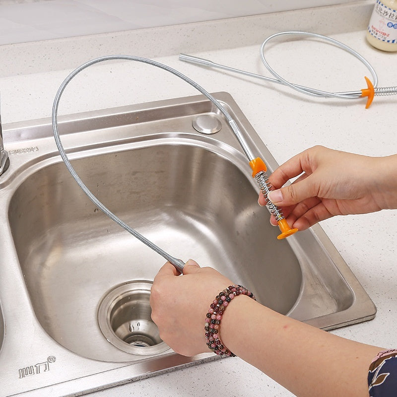 Press-type pressure spring tube sink anti-blocking cleaning clip sewer cleaner hair cleaner