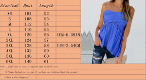 Summer Fashion Ladies Ruffle Tops Pure Color Shirts Women Casual T-shirt Sleeveless Blouses Stretch Tube Top Tank Tops Plus Size XS-6XL